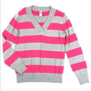 Gap Pink & Gray Striped V Neck Women Sweater